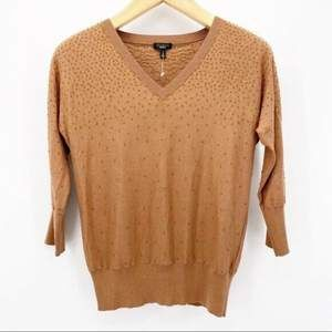 Talbots Small Brown Beaded 3/4 Sleeve Sweater D613